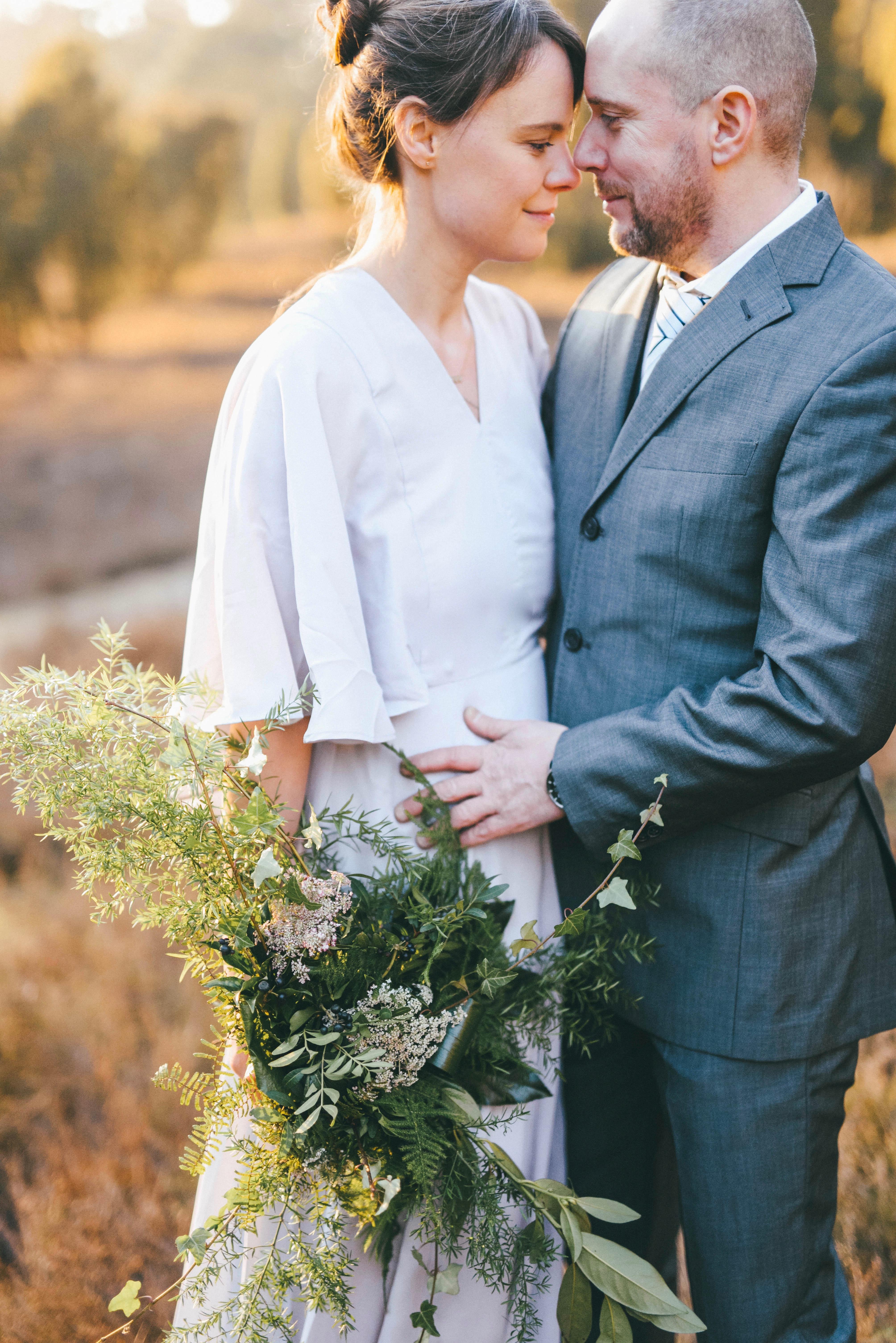 Braut und Bräutigam Brautstrauß Grün