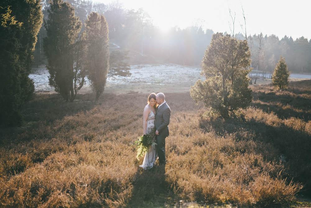 Brautpaar Heide Sonne